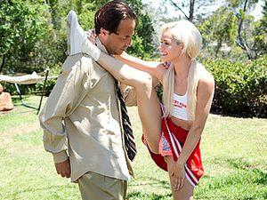 Pigtailed Blonde Cheerleader Rides A Boner Outdoors