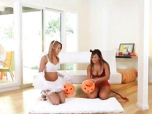 Halloween Sluts Share Kisses And A Big Hard Dick