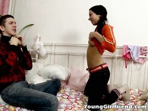 Bent Over Teenager Moans During Hot Anal Fingering