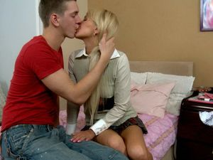 Small Boobs Blonde Teen Blows Him Passionately