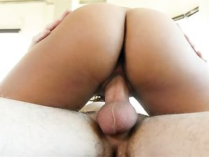 Shaved Young Latina Pussy Sits On His Big Dick