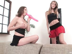 Double Dildo And Dick Shared By Two Cute Sluts