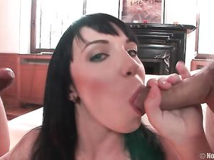 Blue Eyed Teenage Slut Blowing Two Guys At Once