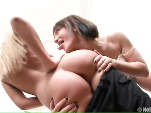 Lesbian Anal Fisting For A Bent Over Brunette Beauty