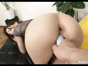 Bent Over Teen Toy Fucked In Her Juicy Pussy