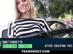 Teen Beauty Paid To Strip In The Car And Fuck At Home