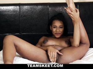Big White Dick Has A Cute Black Teen Moaning For More