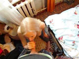 Slutty Blonde Blows A Man She Just Met