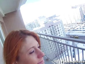 Redhead In Leather Fucked In The Public Stairwell
