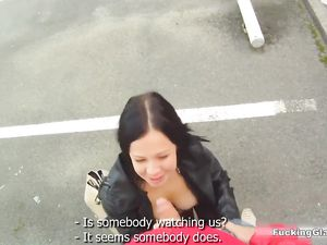 Fucking In The Public Parking Garage With A Slut