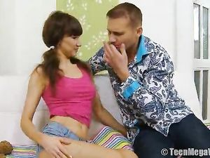 Licking The Pigtailed Teen Girl He Wants To Fuck