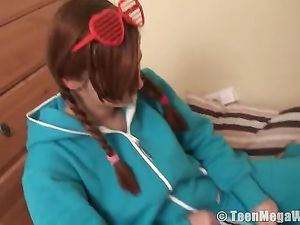 Super Cute Teen Stripping From Her Pajamas To Play