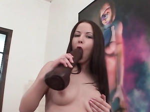 Patterned Stockings On A Teen Fucking Gigantic Dildos