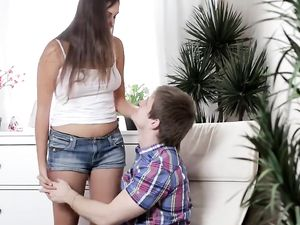Creampie For A Busty Brunette After Fucking