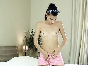 Tall And Skinny Brunette Slowly Stripping