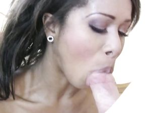 Ebony Babe Riding A White Cock After Sucking