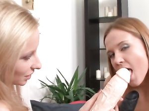 Strap On And A Dildo For Teen's Pretty Cunt